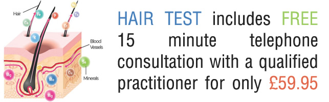 hair test includes free 15 minute phone consultation with a qualified practitioner